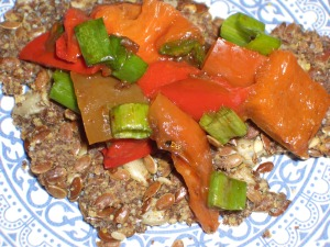 flaxseed crackers with roasted peppers and scallion